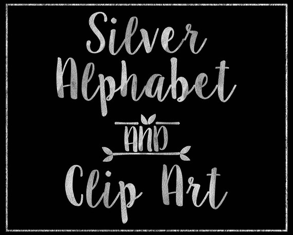 Silver Paper Alphabet Clip Art - Digital Alphabet - Scrapbooking, Card Making, Invitations - Printable Alphabet - Silver Digital Alphabet