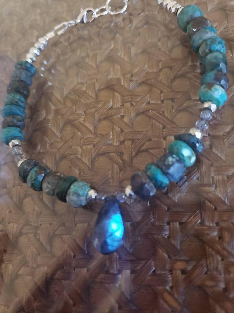 Faceted Chrysocolla Bracelet Labradorite Briolette Tennis Bracelet Pyrite Dangle Bracelet Empath Protection Healing Crystals Sterling Silver