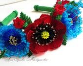 Beaded flowers Beaded Poppies Beaded cornflowers Beaded Camomiles Ukrainian embroidery Hair Flowers Embroidered ukrainian blouse