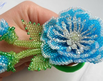 Gift for Valentine s day Beaded jewelry Hair Accessories Elastic hair band  Blue flower bead Flower elastic Flower handmade A beaded brooch 7dcb2ad999a