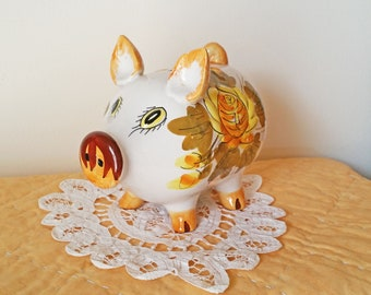 Hand Painted Vintage Italian Ceramic Piggy Bank - Italian Pottery - Vintage Floral - Pig Collectible