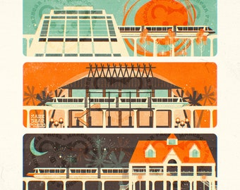 Highway in the Sky - Resort Monorail - Art Print
