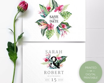 Envelopes Tropical Save The Date destination wedding Floral Wedding Save The Dates Personalized Printed Cards or Digital Printable PDF