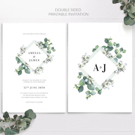 Wedding Invitation Eucalyptus Invitation Greenery Invite Leaves Wedding Invitation INSTANT DOWNLOAD Editable Printable diy Invitation WI142