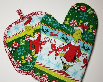 grinchhow the grinch stole christmas oven mitt and pot holder set2018 robert kaufman fabric - Grinch Christmas Tree Decorations