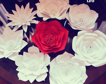 8 Set Of Large Size Paper Flowers Paper Flower Wall Etsy