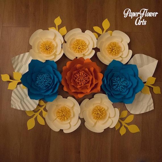 8 Set Of Large Size Paper Flowers Paper Flower Wall Wedding Wall Wedding Arch Paper Flower Backdrop Decorative Flowers