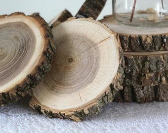 "Wood Slices, 20 (4""- 4 1/2"") Large Wood Slices, Mason Jar, Rustic Wedding, Wood Slices for Wedding, Wood for Crafts, Woodland Wedding,"