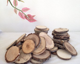 """Wood Slices (100 1""""- 2"""") Name Tags, Rustic Wood Slices, Crafting Supply Natural Wood Slice,  Wood for Crafts Crafting   Bulk Tree Slices  """