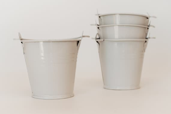 Metal Bucket White Pail Wedding Favor Tiny Bucket Tin Etsy