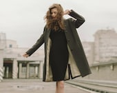Woman green coat /  Green spring coat / Autumn wool coat