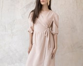 Nude linen dress / Summer linen dress