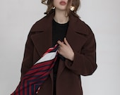 Brown woman coat / warm cashmere coat