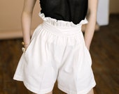 Hight waisted linen shorts / White linen shorts