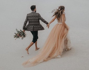 Tulle wedding dress, copper bridal gown
