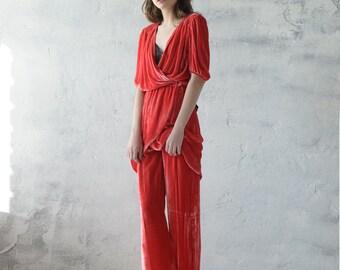 Red velvet suit for woman