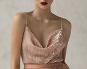 Draped bridal top / slip wedding top / bridesmaid sequin top