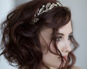 Bridal silver tiara / Crystal wedding crown / Floral bridal headpiece