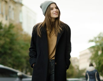 Black autumn coat / woman wool coat