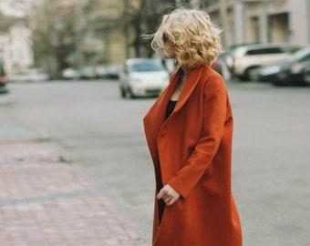 Terracotta coat, cashmere coat, woman coat, wool coat