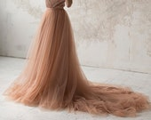 Dusty copper tulle wedding skirt / Full bridal skirt