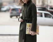 Green cashmere coat / Cashmere spring coat / Autumn coat