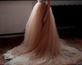 Ivory copper wedding skirt, tulle bridal skirt