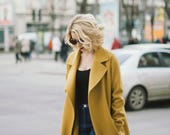 Light mustard coat, wool coat, cashmere coat