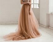 Dusty copper tulle wedding skirt / Bridal skirt