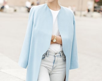 Blue spring coat / woman wool coat