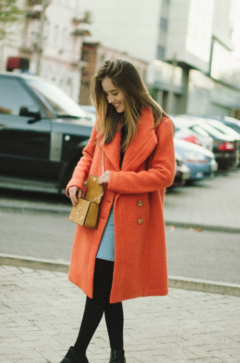 843ced08e2a Terracotta autumn coat woman wool coat