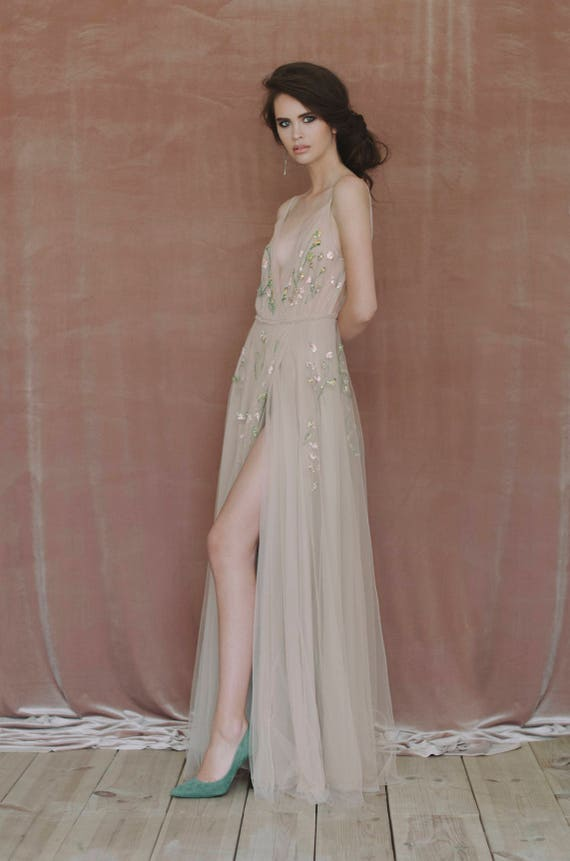 dress wedding Beige hand embroidered gown bridal wedding gown Snqfx4 ...