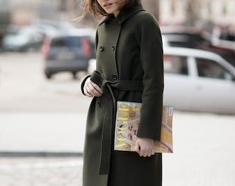 Green cashmere coat / Cashmere spring coat / Autumn coat