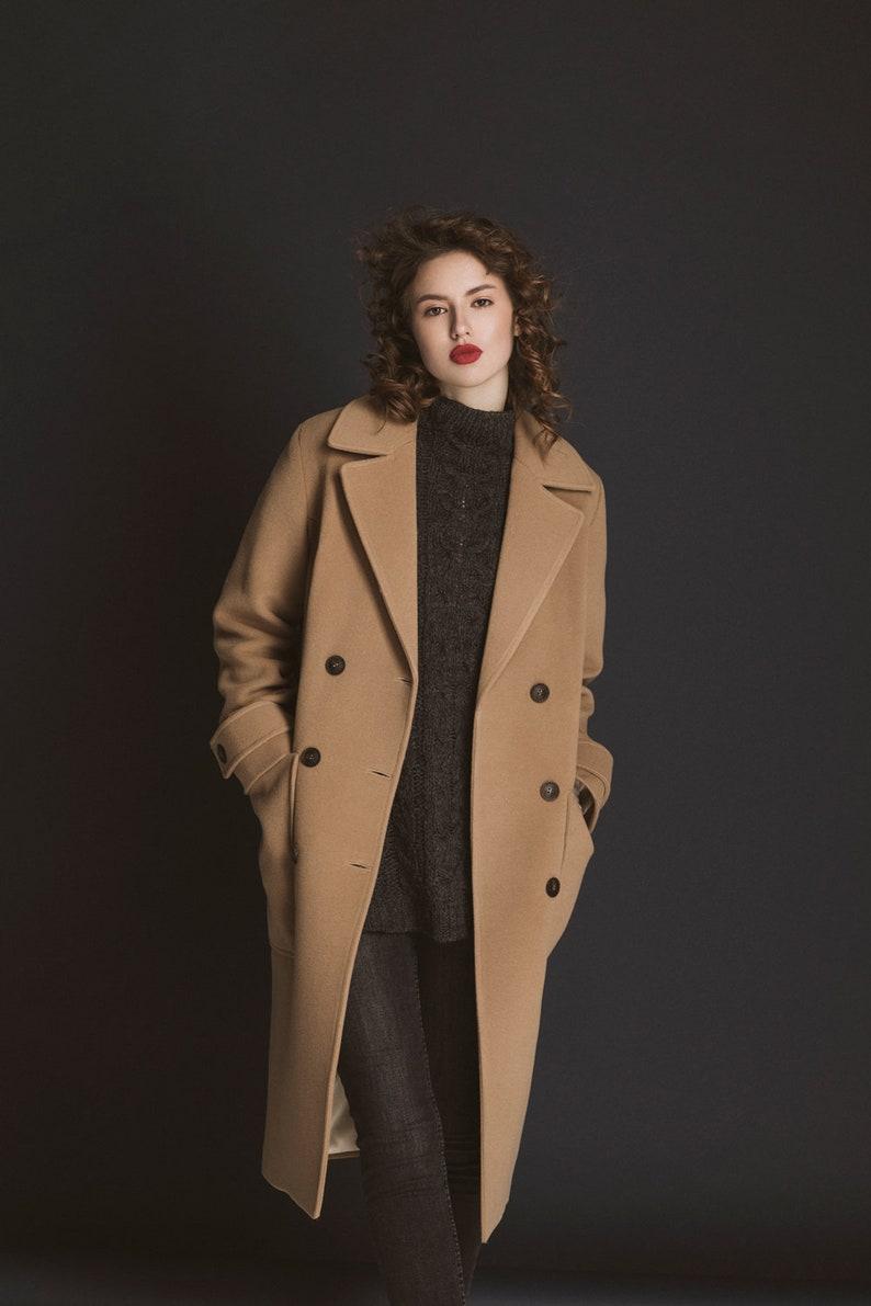 8e16aab0dd Spring camel cashmere coat / Woman wool coat   Etsy