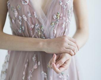 Boho wedding dress / Pale blush purple bridal gown // DIANE