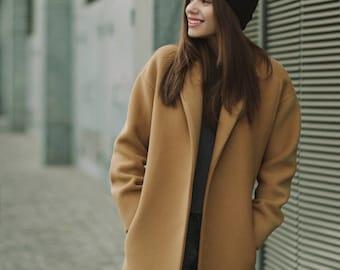 Fall camel coat / Woman wool coat / Loose fit camel coat / Warm wool overcoat / Oversized wool coat / Winter camel coat