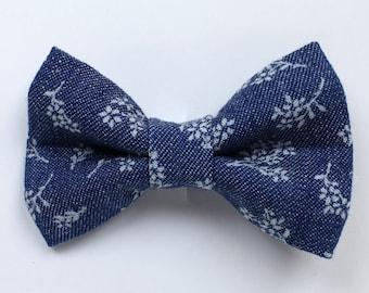 Denim Floral Print Hair Bow