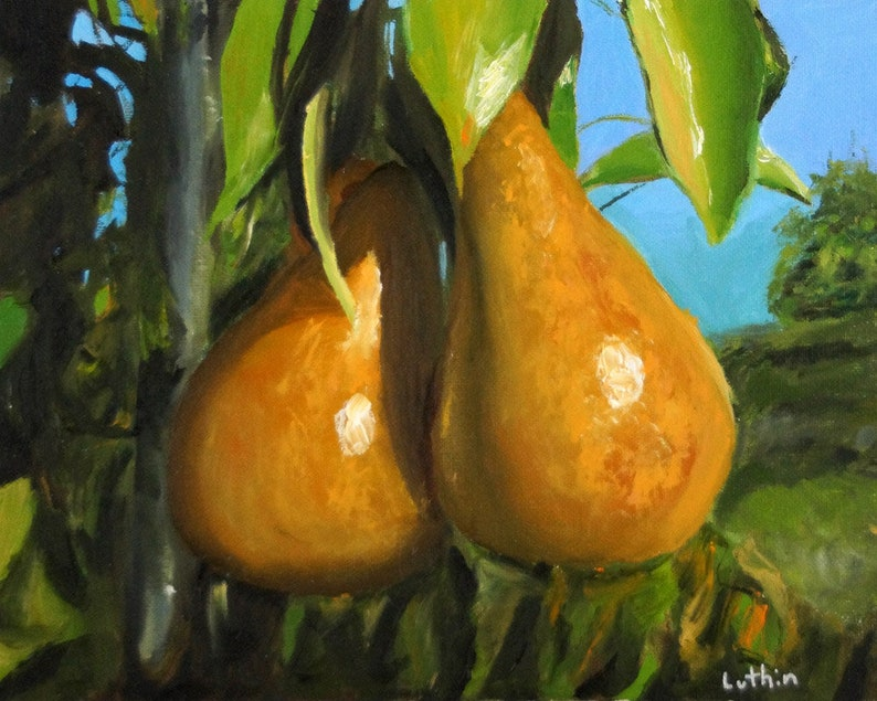 Oil Painting  8x10  Pair of Pears  FREE Solid Wood Frame image 0