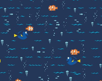 Navy Disney Finding Dory Cotton Fabric