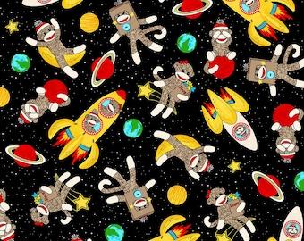 Space Sock Monkeys Cotton Fabric