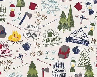 Off White Scouts Outdoor Cotton Fabric