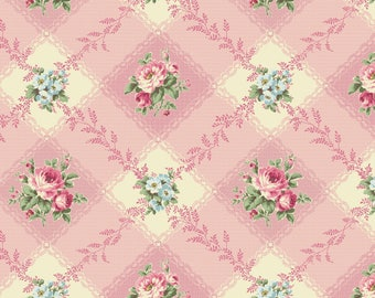 Shabby Chic Gingham Rose Cotton Fabric