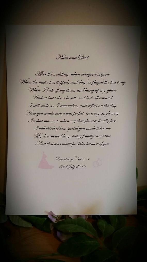 Mama Und Papa Gedicht Danke Gedicht A4 Karte Nach Der Hochzeit Danke Mama Und Papa Hochzeitsgeschenk Dankeschön Geschenk