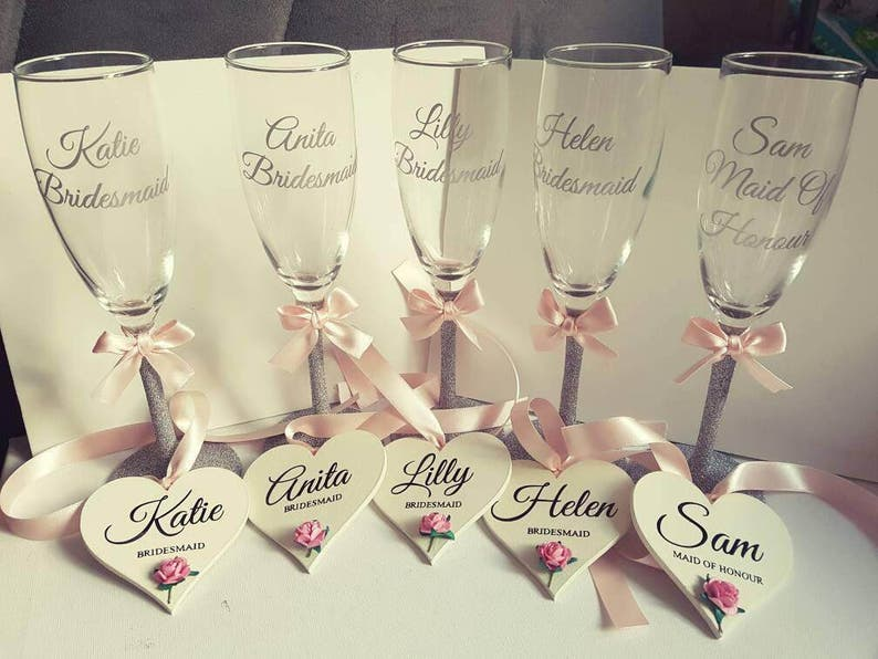 personalised Champagne flutes top table bridesmaid gift image 0