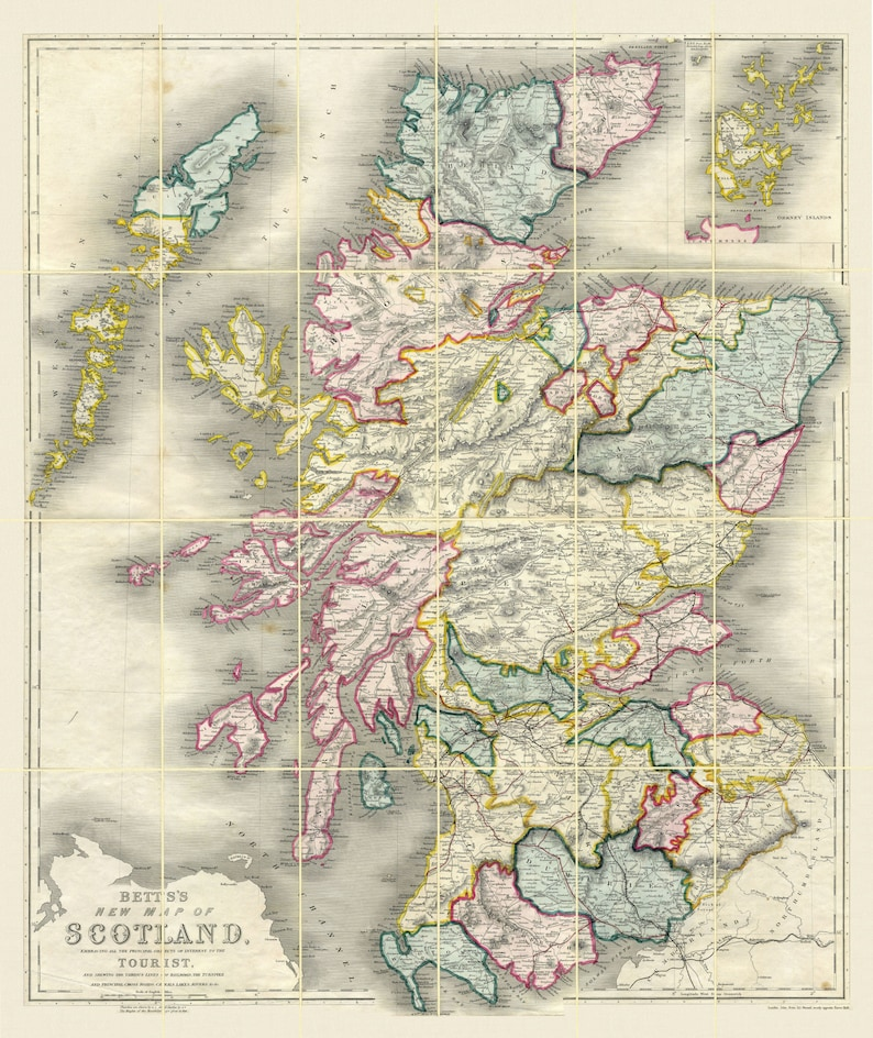 SCOTLAND, 1847  Linen Backed, folded map  Old Maps Reprint
