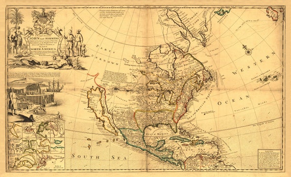 North America 1719 Linen Backed Folded Map Old Map Reprint Etsy