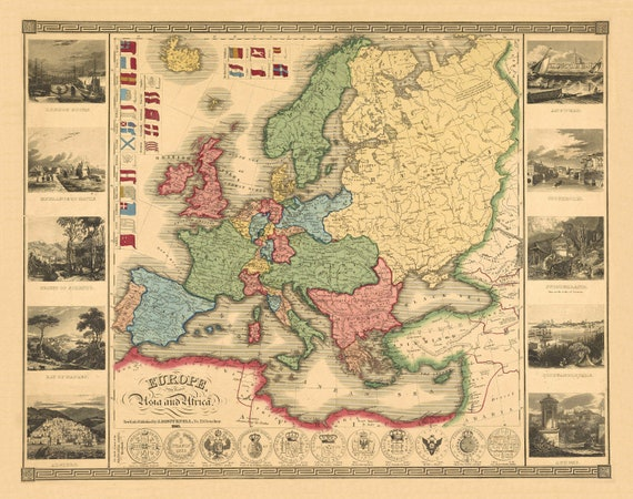 Map Of Europe 1840.Europe Part Of Asia Africa 1840 Linen Backed Folded Etsy