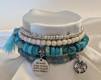 Atheist Boho Vegan Vintage Recycled Glass Beaded Charm Bracelet with  Thomas Paine quote