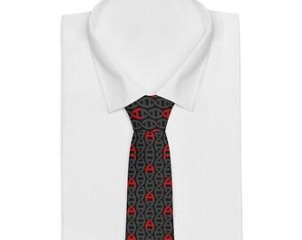 Vegan Atheist DNA Necktie Black and Red