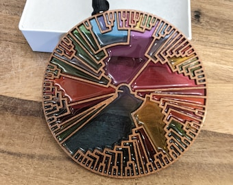 Atheist Secular Evolution Resin Stained-Glass Phylogenetic Tree Christmas Ornament
